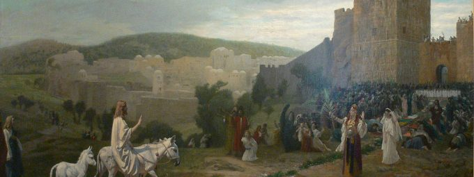 Jesus entering Jerusalem on a donkey